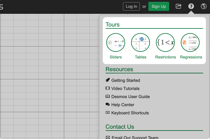 Calculator help menu with tours called out. Screenshot.