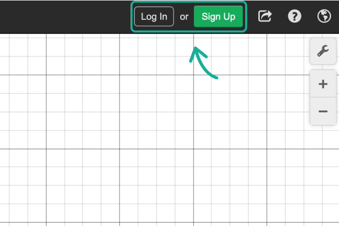 Desmos graphing calculator with Log In and Sign Up Buttons called out. Screenshot.