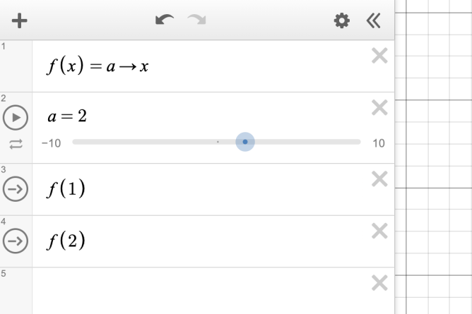 First expression line contains function/action \(f(x) = a\) → \(x\).  Second expression line has slider for a with value set to two. Third expression lines contain actions \(f(1)\) and \(f(2)\).  Screenshot.