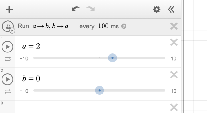 Action has been entered in ticker field. \(a\) → \(b\), \(b\) → \(a\).  Time has been set to 100 ms. Sliders added for a and b, currently set a to two and b to zero. Screenshot.