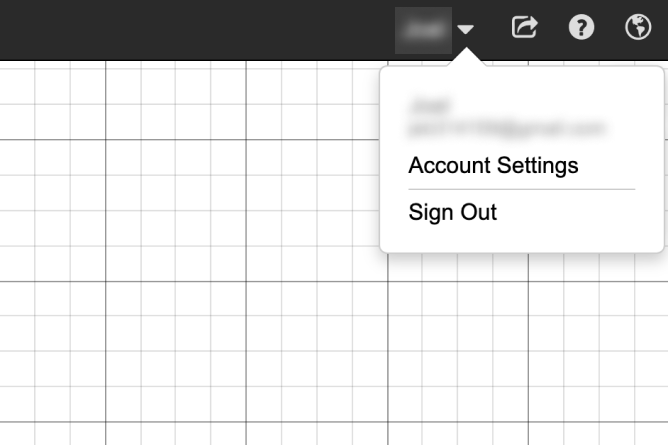Desmos graphing calculator with name clicked and drop down menu showing.  Option to select Account Settings or to Sign Out. Screenshot.
