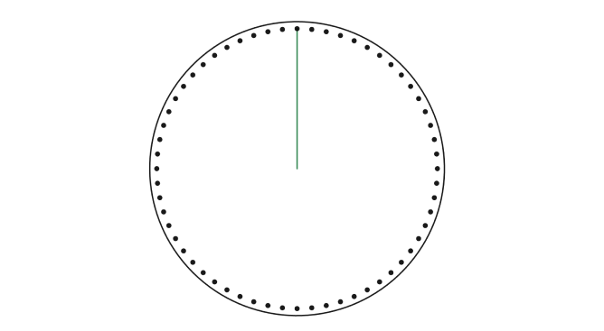 Circle with 60 dots around the outside, giving the impression of a clock or stop watch.  Single green hand is pointed directly up.  Screenshot.