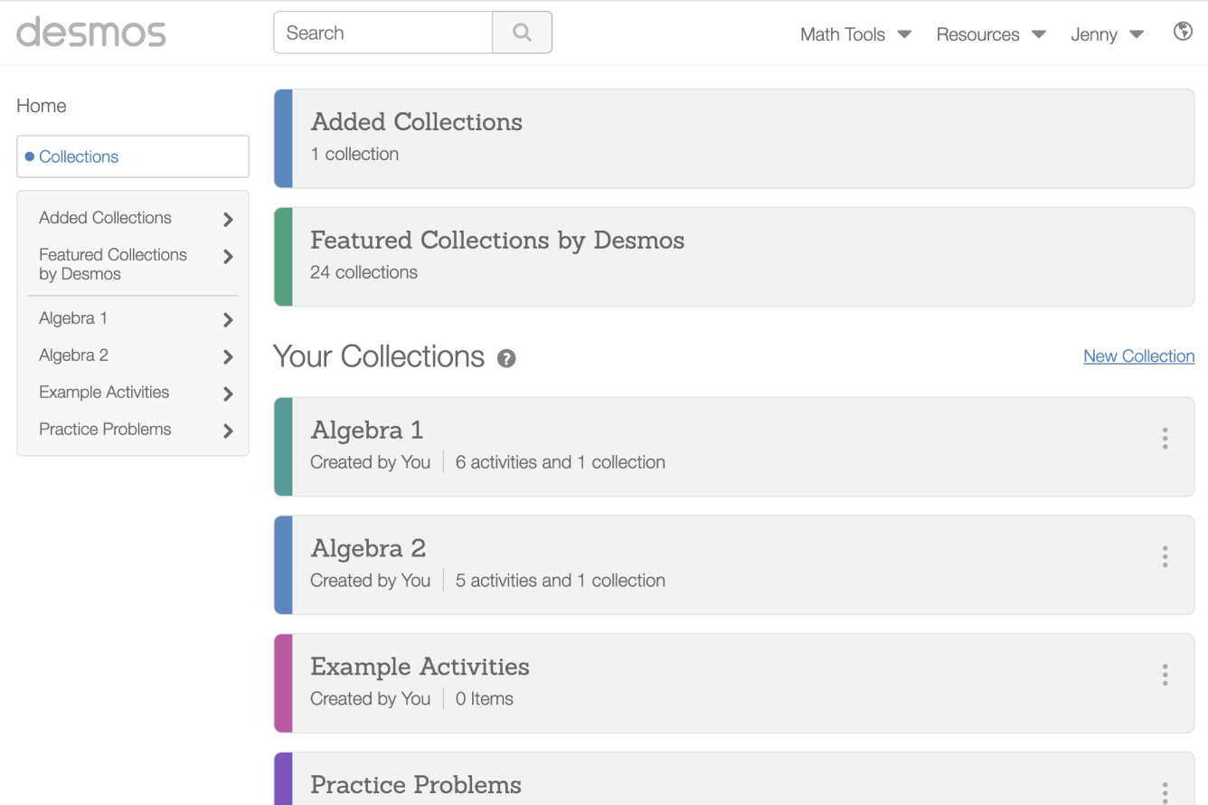 Example Featured Collections. Screenshot.