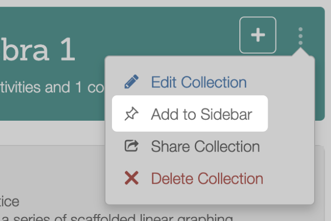 Collection With Add To Side Bar Highlighted. Screenshot.