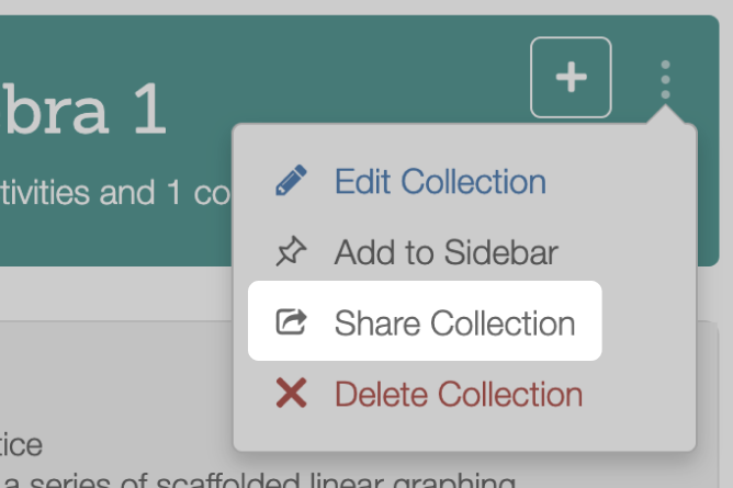 Conics Collections With Share Collection Highlighted. Screenshot.