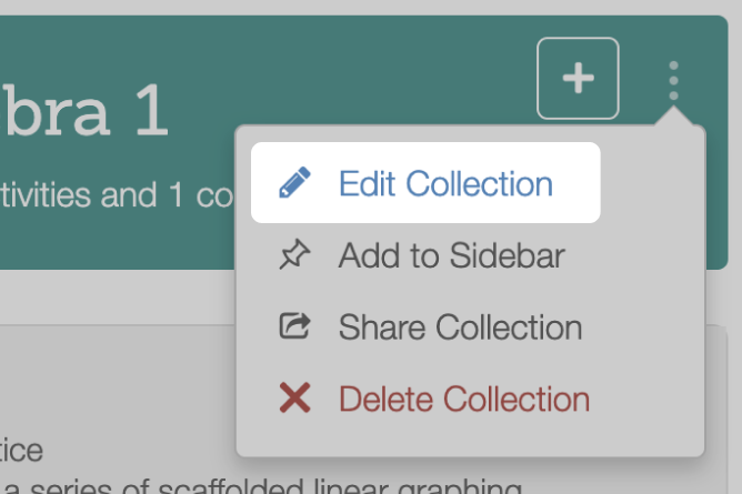 Edit Collection With Add Section. Screenshot.