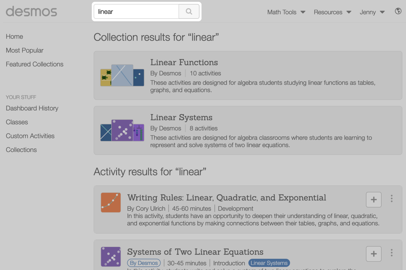 Linear Search Results. Screenshot.