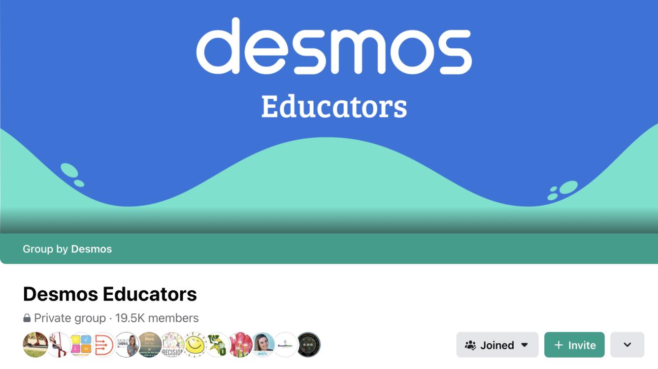 Desmos Educators Facebook Page Banner.  Screenshot.