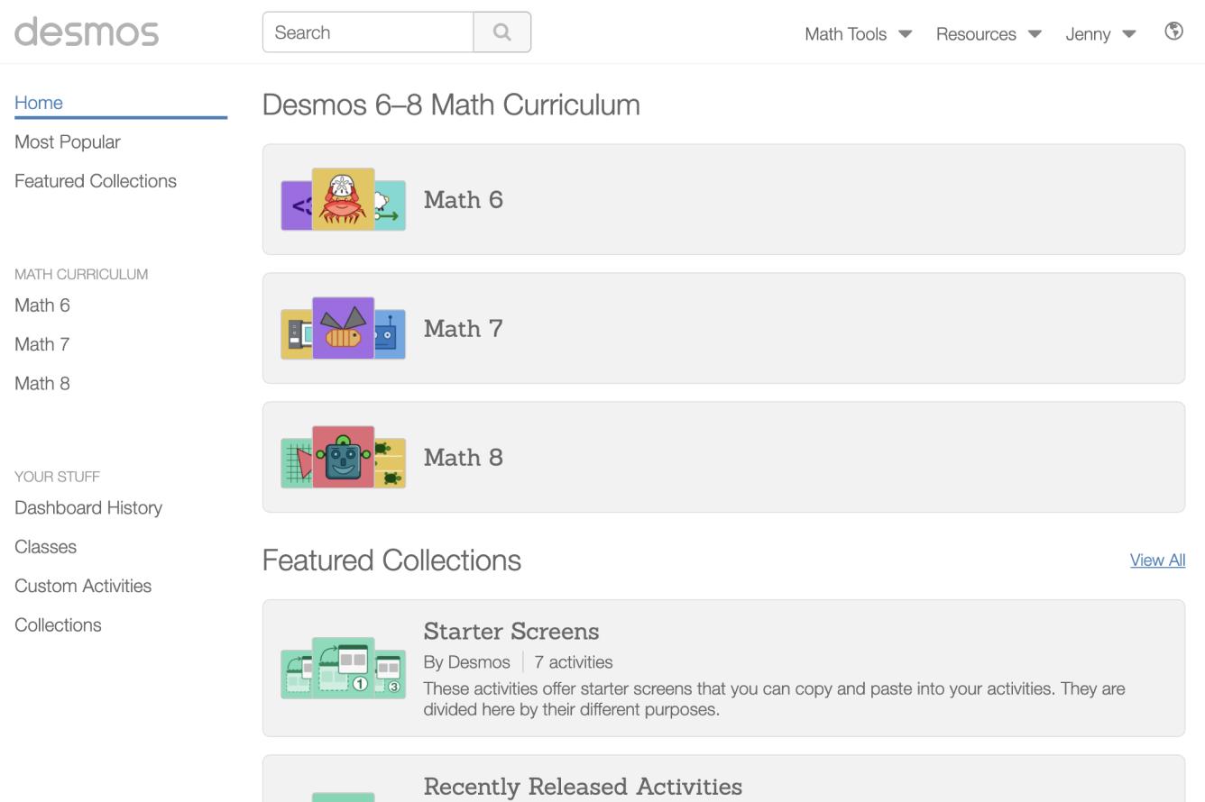 Teacher homepage showing the Desmos 6-8 Math Curriculum.