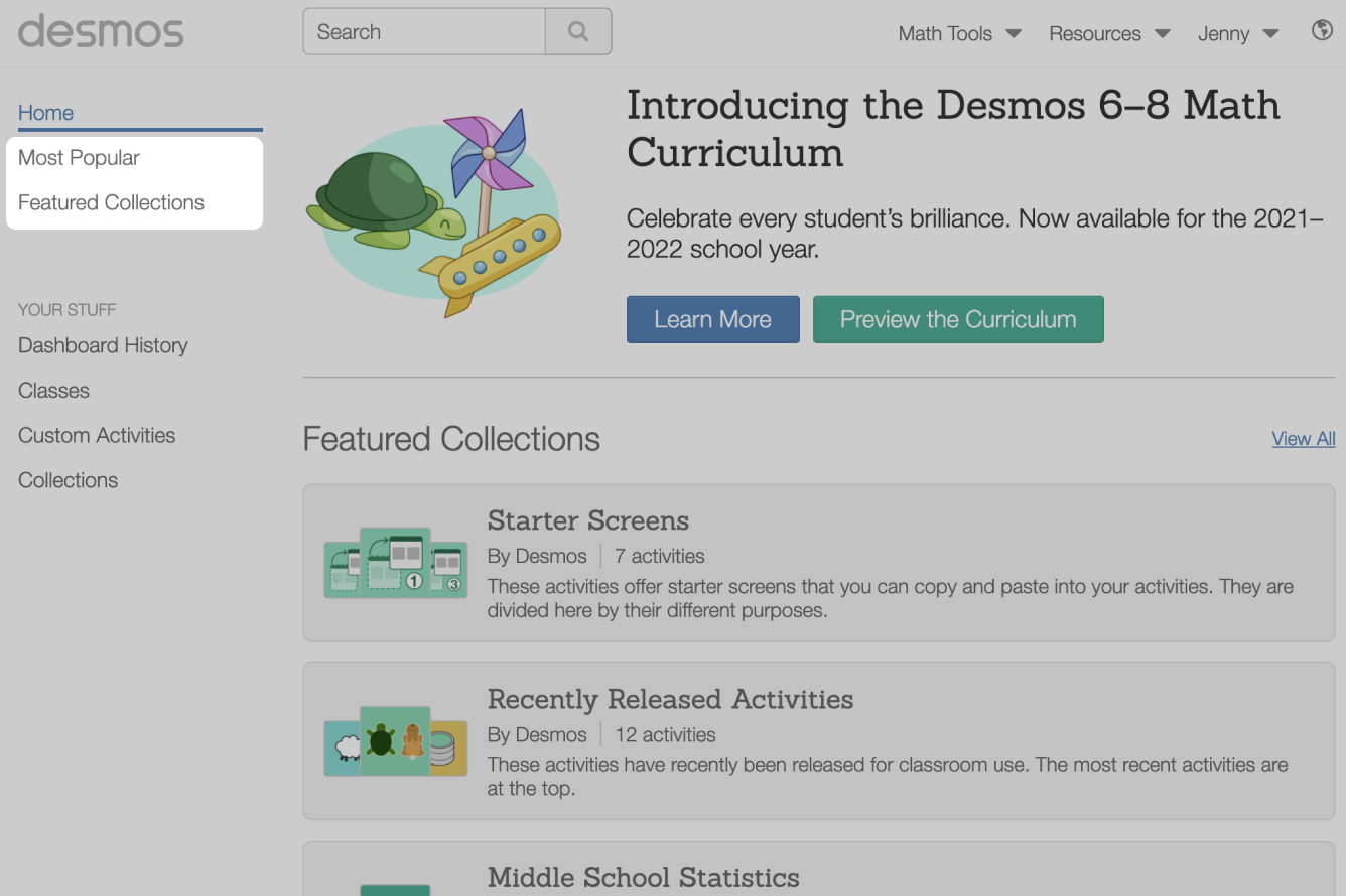 Most Popular and Featured Collections links in the teacher sidebar.