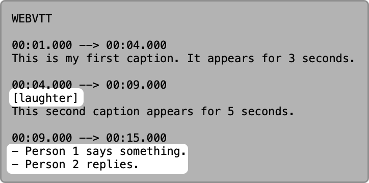 VTT text in a text editor