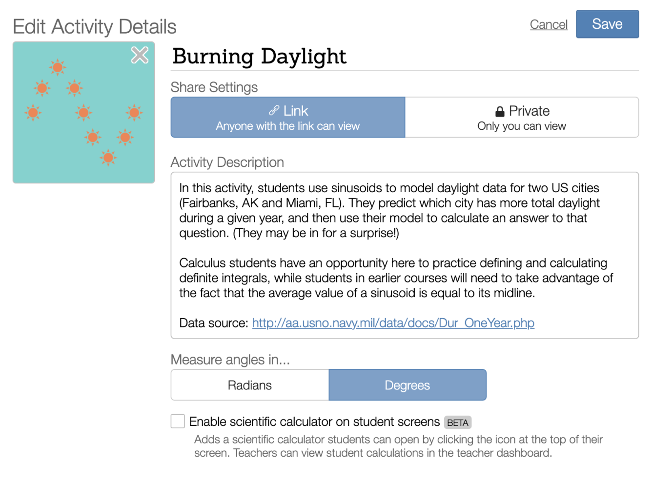 Title editing screen in activity builder with the toggle for radian/degrees. Screenshot.