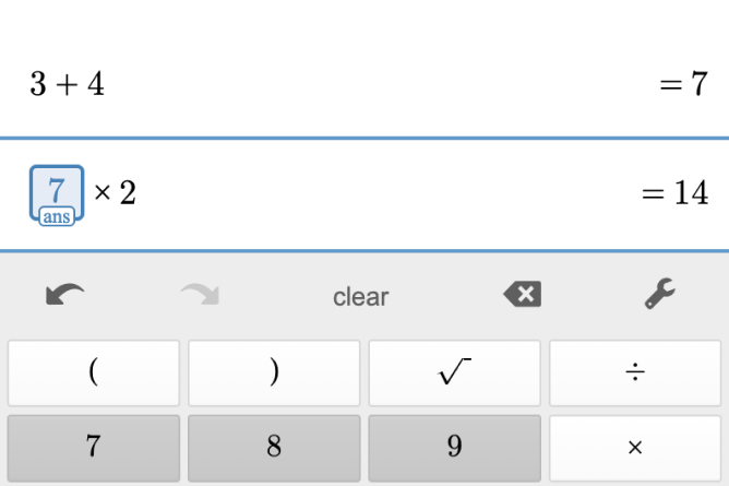 Four Function Calculator Showing Previous Answer. Screenshot.