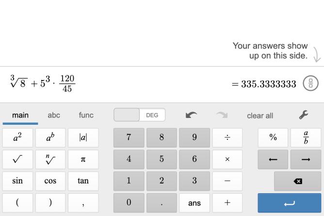 Main Scientific Keyboard. Screenshot.