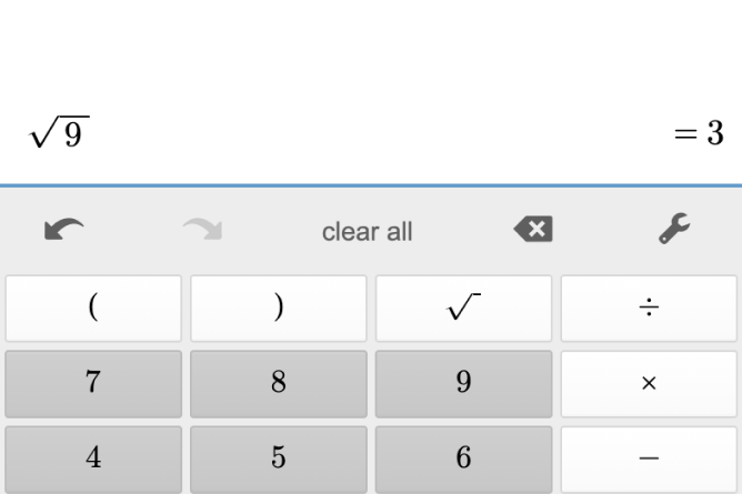 Four Function Calculator showing Square Roots. Screenshot.