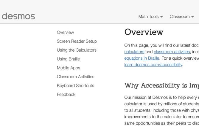 Accessibility Page. Screenshot.