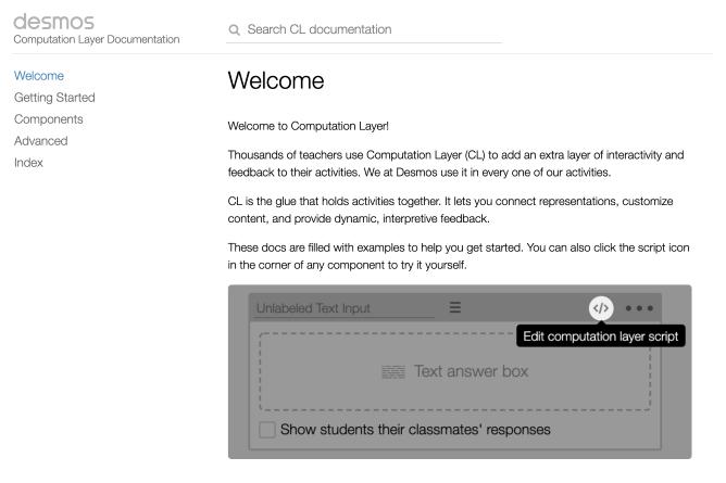 Computation Layer Documentation Page. Screenshot.