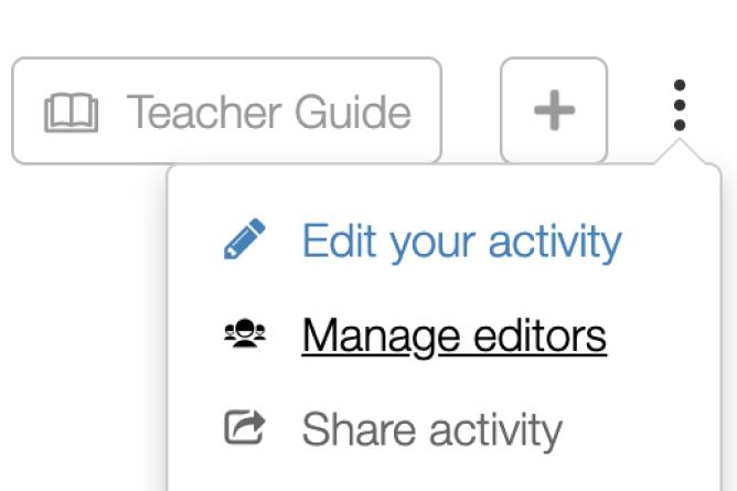 Drop down menu with Manage Editors highlighted. Screenshot.