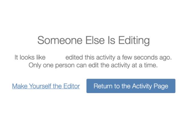 Someone Else Is Editing Dialog. Screenshot.