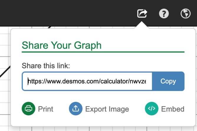 Share Your Graph from Desmos Calculator. Screenshot.