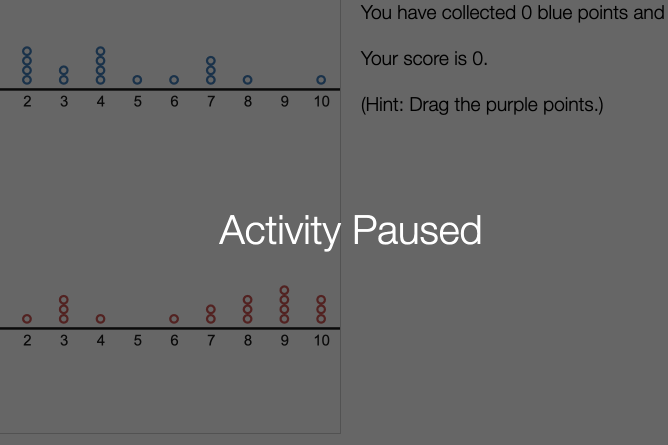 Student Screen With Activity Paused. Screenshot.