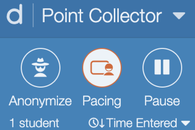 Teacher Dashboard With Pacing Activated. Screenshot.
