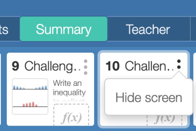 Teacher Dashboard With Hide Screen Dialogue Showing. Screenshot.