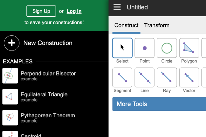 Geometry Sign In Options. Screenshot.