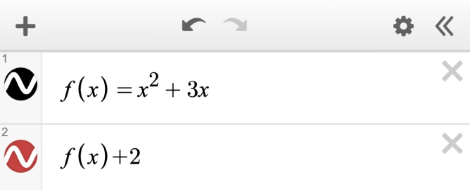 Expression line 1: f\left(x\right)=x^{2}+3x. Expression line 2: f\left(x\right)+2. Screenshot.