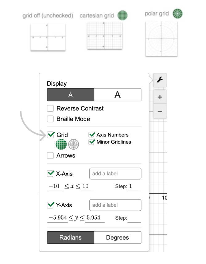 Grid setting menu. Screenshot.