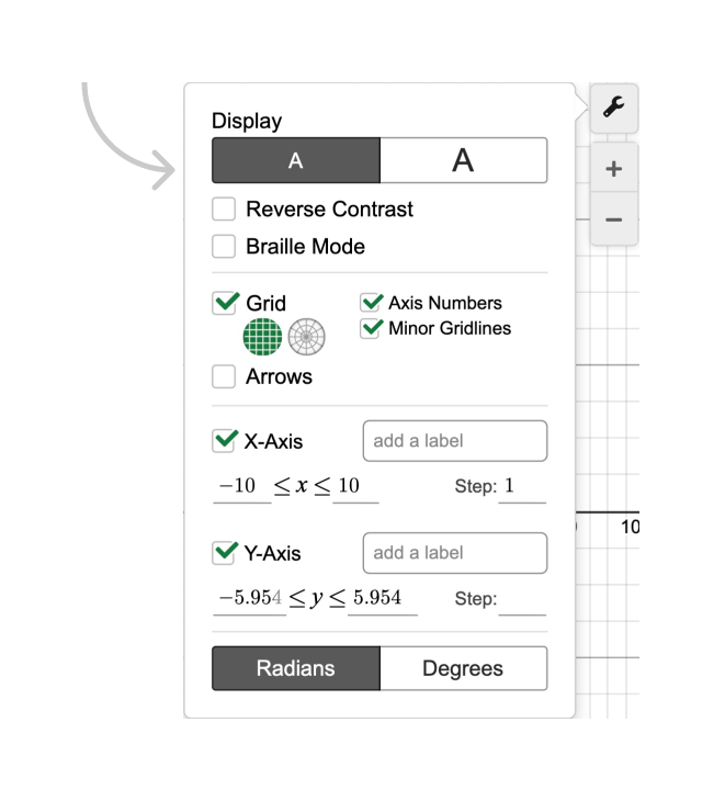 Radio buttons for default and large display settings. Screenshot.