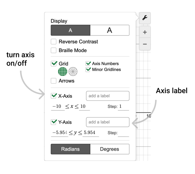 Toggle axis on/off. Add axis labels. Screenshot.