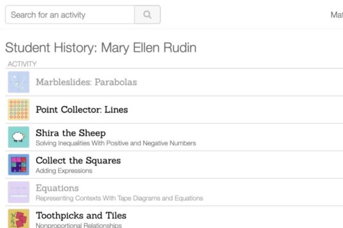 Single Student history of activities. Screenshot.