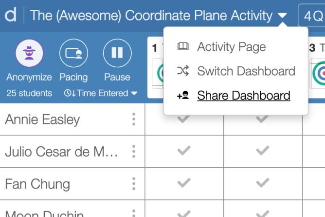 Share Teacher Dashboard dropdown link from title of activity in a teacher dashboard. Screenshot.