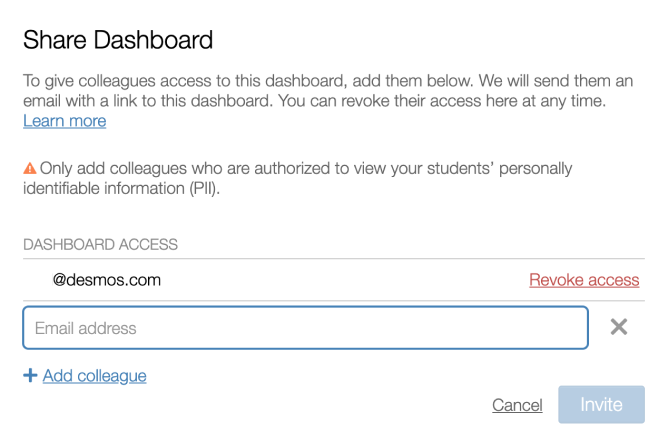Share teacher dashboard window, type in the email address your co-teacher uses for their Desmos Account. Screenshot.