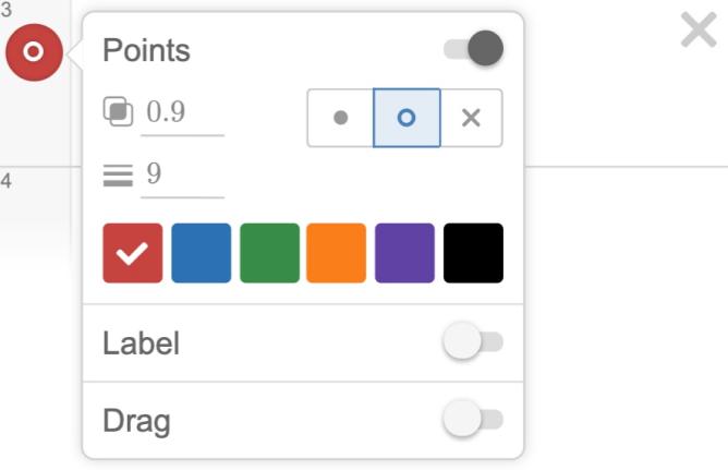 Point settings menu showing open circle selection. Screenshot.