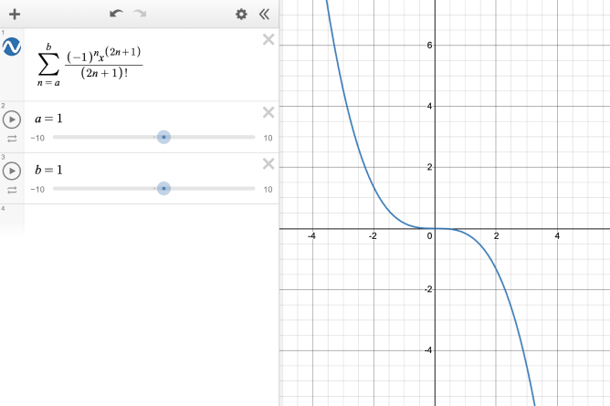 Summation With Parameters. Negative 1 to the Nth Power Times X to the Two N Plus One Power. All Divided By Two N Plus One Factorial.  Graph Image Included. Screenshot.