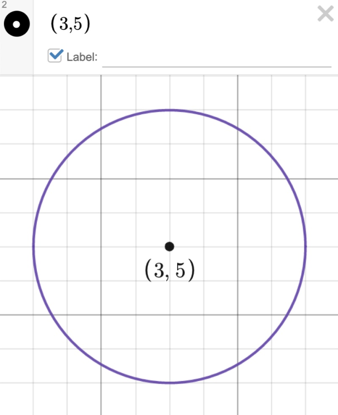 Image of a circle with center labeled (3,5). Screenshot.