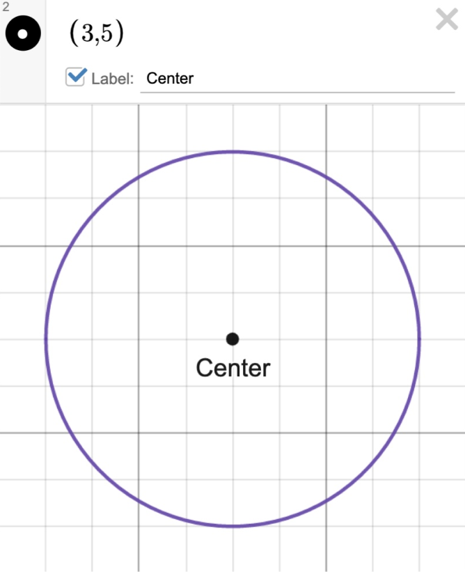 Image of a circle with the center (3,5) labeled as center. Screenshot