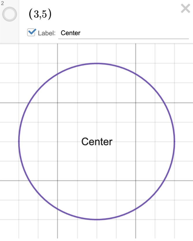 Image of a circle with center at (3,5) labeled as center with coordinate point toggled off.  Screenshot.