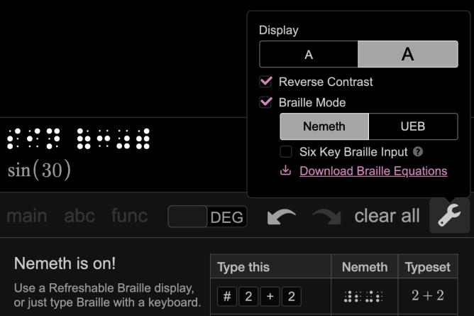 Braille Mode Set up. Screenshot.