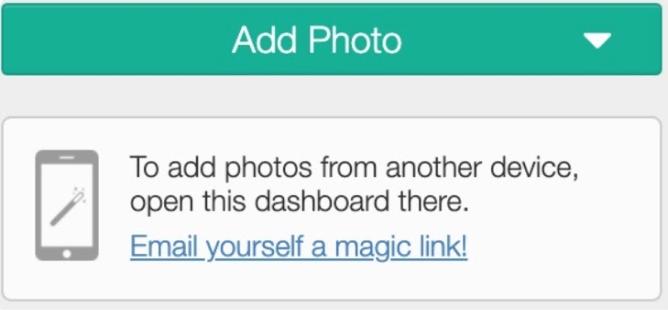 Image of add snapshot through an email link. Screenshot.