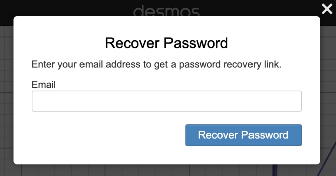 Request for an email address to reset your password. Screenshot.