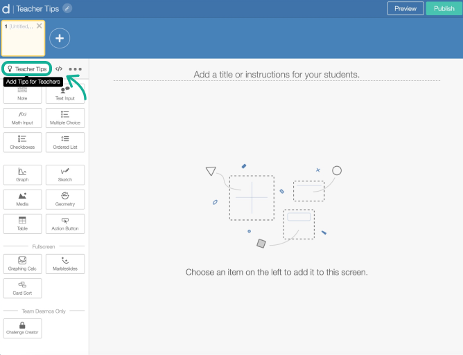 Teacher Tips in Activity Builder Editor. Screenshot.