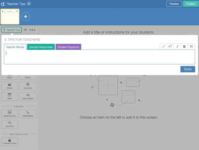 Type in teacher tip when in activity builder editor.  Screenshot.