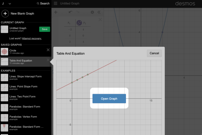 Graph Menu Opened With Graph Selected And Open Graph Called Out. Screenshot.
