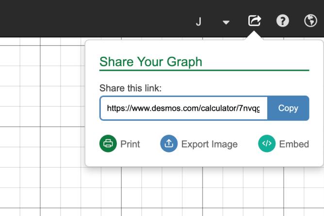 Share Menu Opened on Graph.  Screenshot.