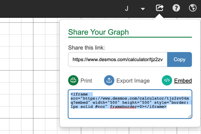 Embed Graph Share Screen With HTML Code. Screenshot.