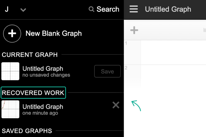 Graph Menu Opened With Recovered Work Called Out. Screenshot.
