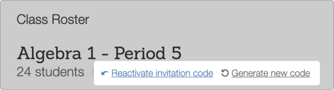Reactivate Desmos Class code from manage classes tab. Screenshot.